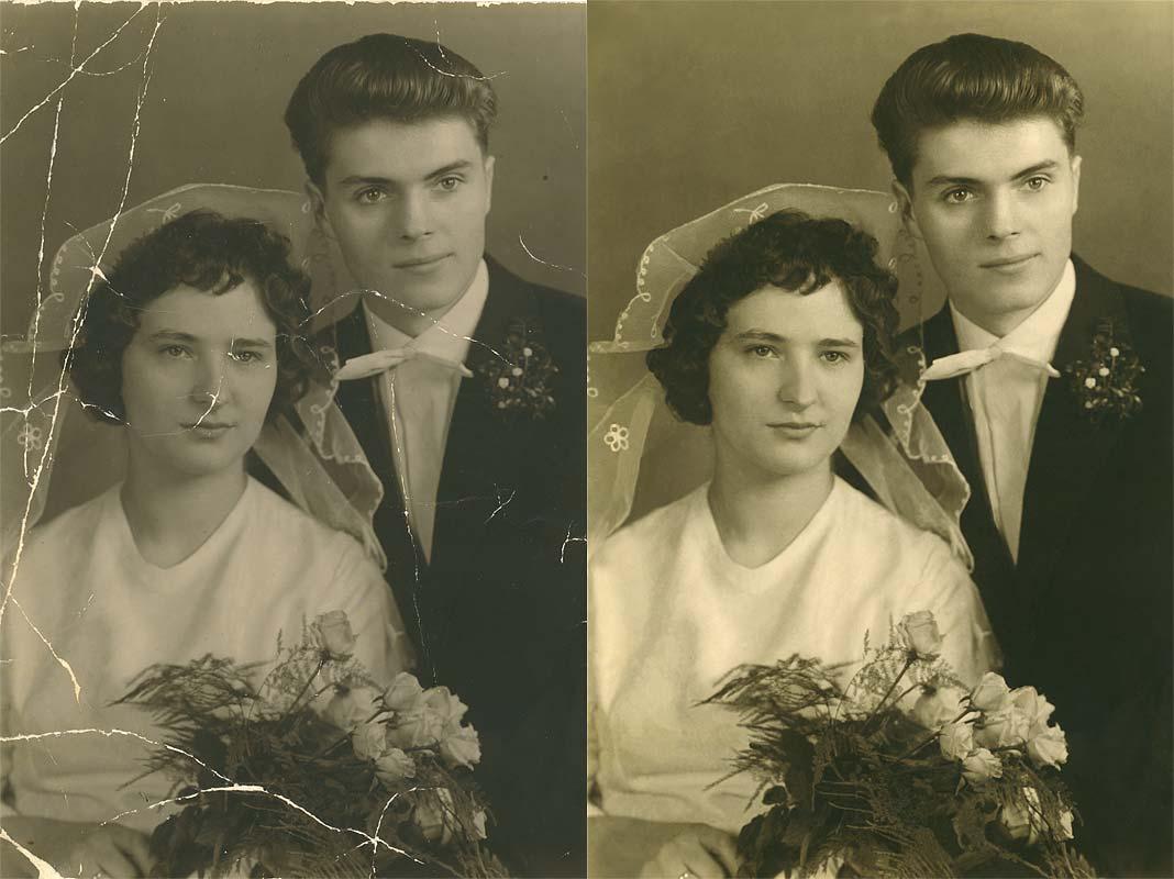 Beispiel einer Bildbearbeitung, ein altes Foto mit Knicken wurde retuschiert.