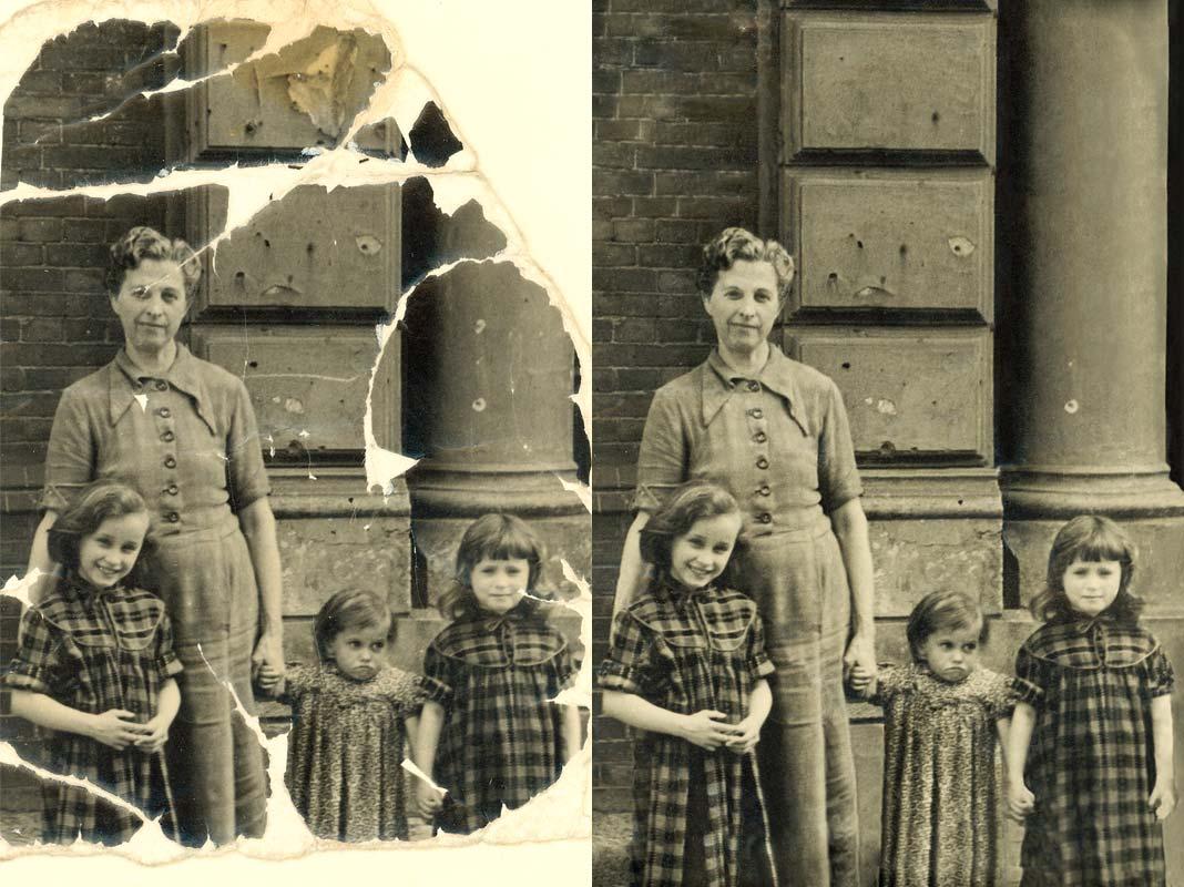 Beispiel einer Bildbearbeitung, ein stark beschädigtes Foto wurde retuschiert, fehlende Bildteile wurden ersetzt.