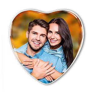Grabbild - Porzellanbild in Herzform mit weißem Rand, farbig.